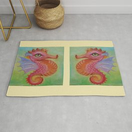 Baby Dragon Sea Horse Ice Cream color book illustration for kids Oil painting on canvas Pastel color Rug