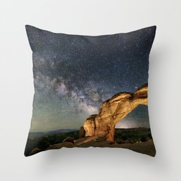 Broken Arch With The Rising Milky Way Throw Pillow