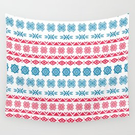Hand painted blue red watercolor scandinavian geometrical pattern Wall Tapestry
