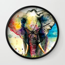 RAINBOW ELEPHANT WATERCOLOR Wall Clock