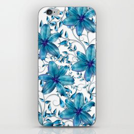 LILY AND VINES BLUE AND WHITE PATTERN iPhone Skin