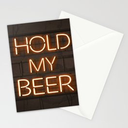 Hold My Beer Neon Bar Light Stationery Cards
