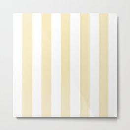 Lemon meringue pink - solid color - white vertical lines pattern Metal Print