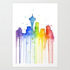 Seattle Skyline Rainbow Watercolor Art Print