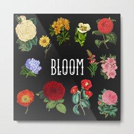 Bloom, Black Square Vintage Flowers and Typography Metal Print