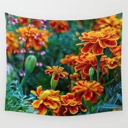 Marigolds in Garden Wall Tapestry