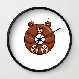 Grizzly Bear Is A Cute Donut Wall Clock