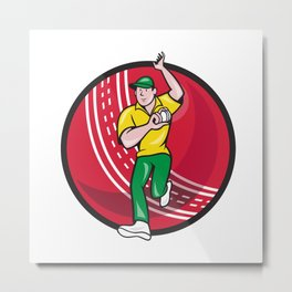 Cricket Fast Bowler Bowling Ball Front Cartoon Metal Print