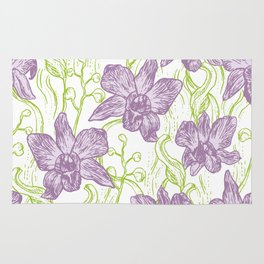 Orchid flowers. Hand drawn on white background olive Green pink purple contour sketch Rug