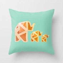 Wooden Origami Elephants Throw Pillow