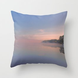 Foggy Morning on the Lake Throw Pillow