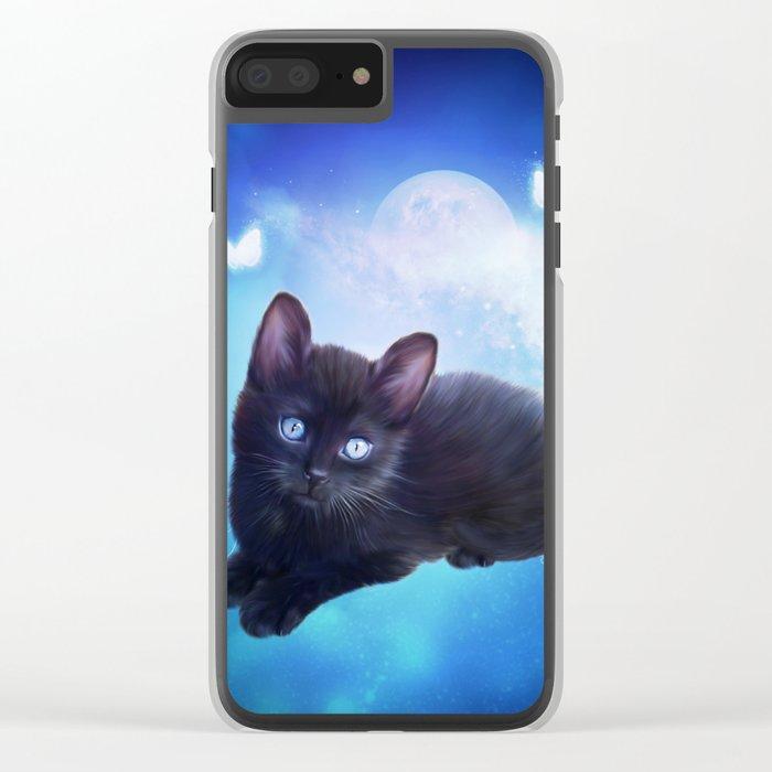 Cute little black kitten Clear iPhone Case