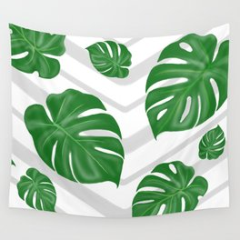 Monstera on chevrons Wall Tapestry