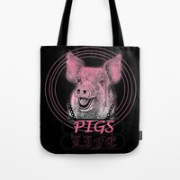 pigs Tote Bags featuring Pigs Life by VirgoSpice