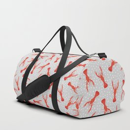 Lobster Pattern - gray with white polka dots Duffle Bag