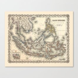 Map Of The East Indies 1855 Canvas Print