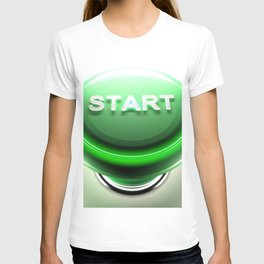 Green pushbutton to START - 3D rendering T-shirt