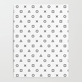 Playstation Controller Pattern (Black on White) Poster