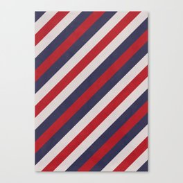 Red, Navy Blue & White Stripes Pattern Canvas Print