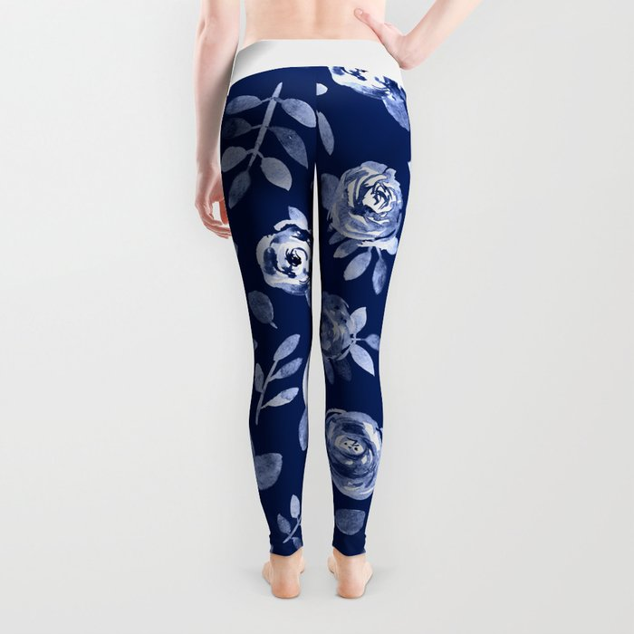 Hand painted navy blue white watercolor floral roses pattern Leggings