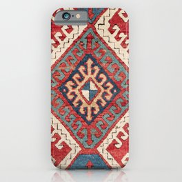 White Hooked Diamond // 19th Century Authentic Simple Colorful Aztec Accent Pattern iPhone Case