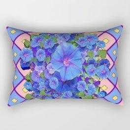 Blue Diamond Patterns Morning Glories Art Rectangular Pillow
