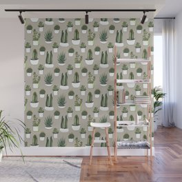 Watercolour cacti & succulents - Beige Wall Mural