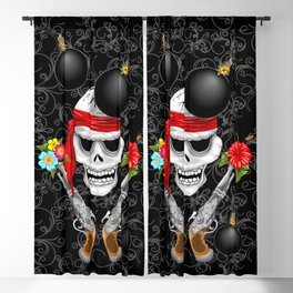 Pirate Skull, Ancient Guns, Flowers and Cannonballs Blackout Curtain