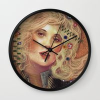 klimt Wall Clocks featuring klimt by Galvanise The Dog