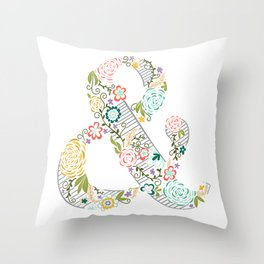 Intricate Floral Ampersand Throw Pillow