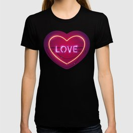 Pink Love in the Heart Neon Sign T-shirt