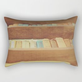 Vintage Books in a Bookcase Rectangular Pillow