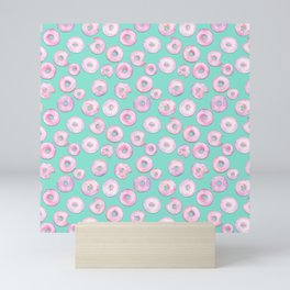Pink Donuts | Strawberry Watercolor Doughnut Pattern on Teal Mini Art Print