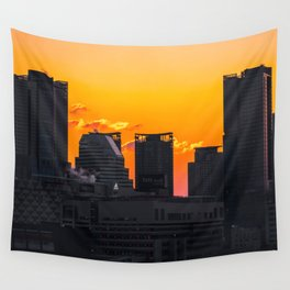 Sunset over Cityscape (Color) Wall Tapestry
