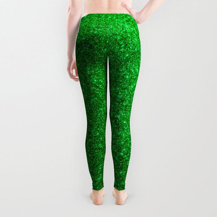 Emerald Green Shiny Metallic Glitter Leggings