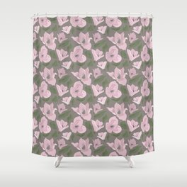 Floral seamless pattern magnolia on grey background Shower Curtain
