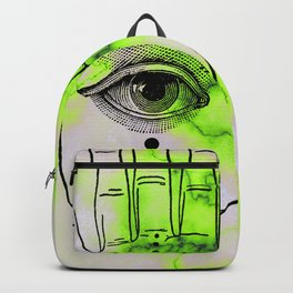 Hamsa Horus Eye Lime Green Marble Backpack