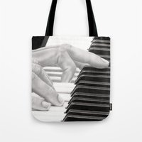 piano Tote Bags featuring Piano by aurelia-art