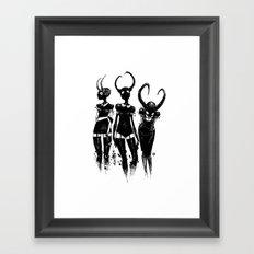 3 horned girls Framed Art Print