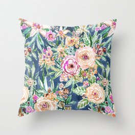 Navy MAUI MINDSET Colorful Tropical Floral Throw Pillow