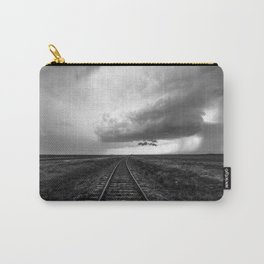 A Dreamer's Journey - Railroad Tracks and Storm in Black and White Carry-All Pouch