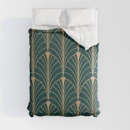 Hidden Sapphire Gold Pattern Comforters
