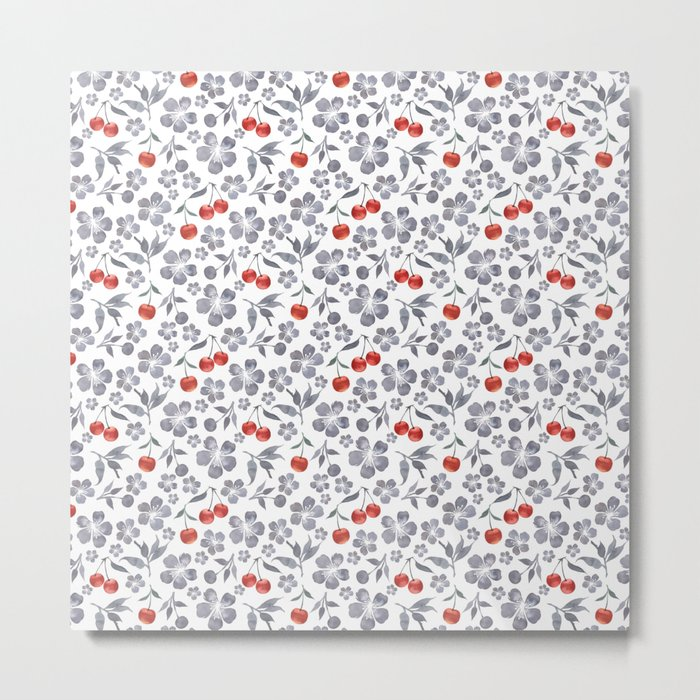 Blossoming cherry pattern Metal Print