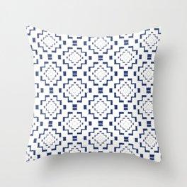 Rough Geometric Aztec Print - Navy Blue Throw Pillow