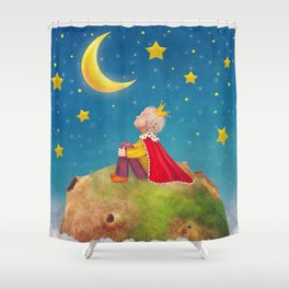 The Little Prince  on a small planet  in  night sky  Shower Curtain