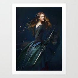 The Lion Queen - Girl with Lion Art Print