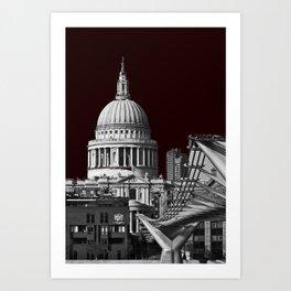 St Pauls Cathederal, London. B&W Art Print