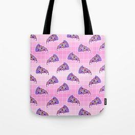 Crazy pizza / Pink Grid Tote Bag