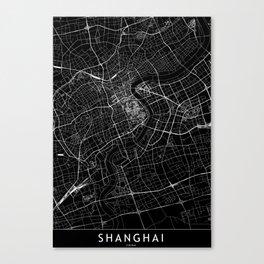 Shanghai Black Map Canvas Print