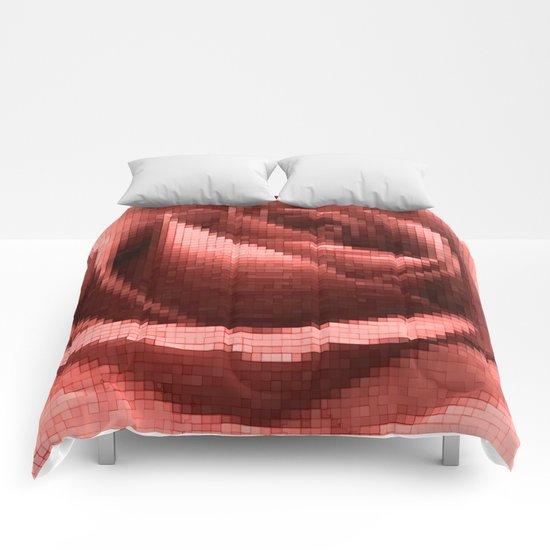 Rosy mosaic Comforters
